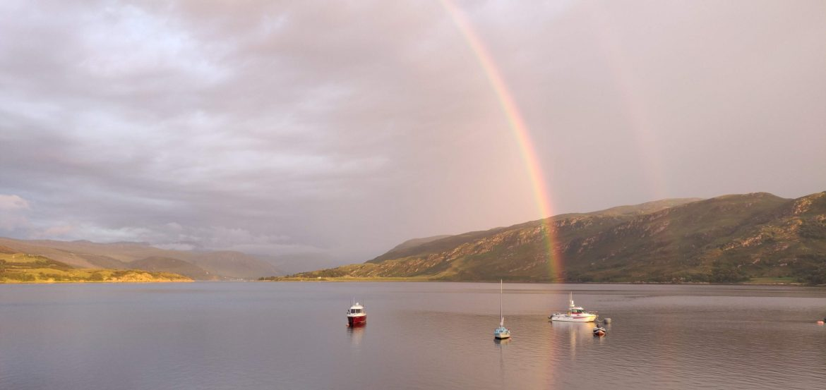 A rainbow over Ullapool harbour