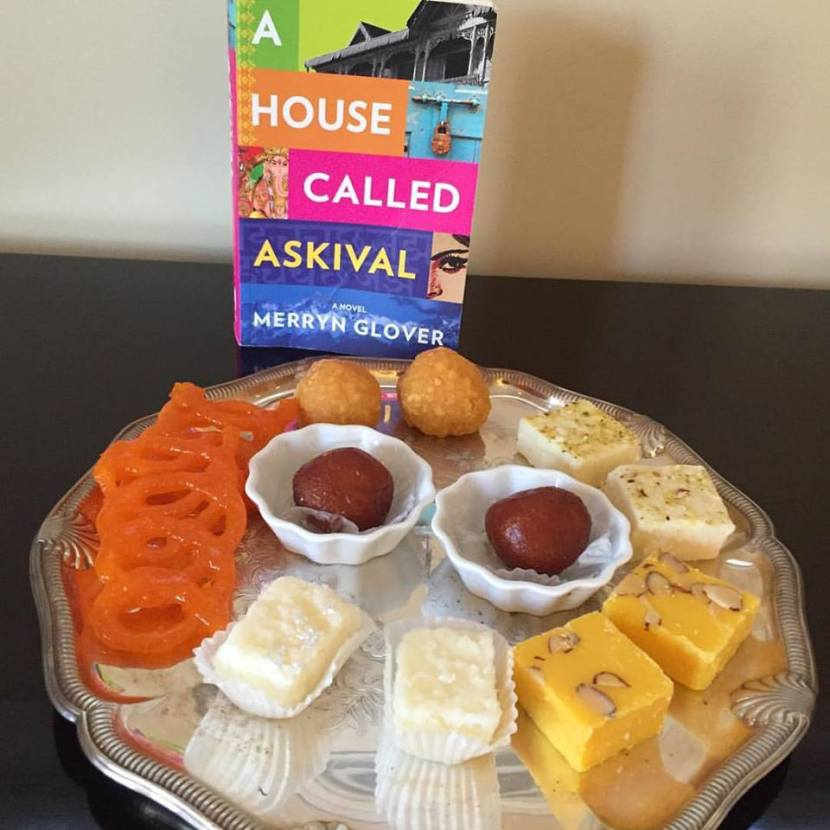 Copy of A House Called Askival with tray of Indian Sweets