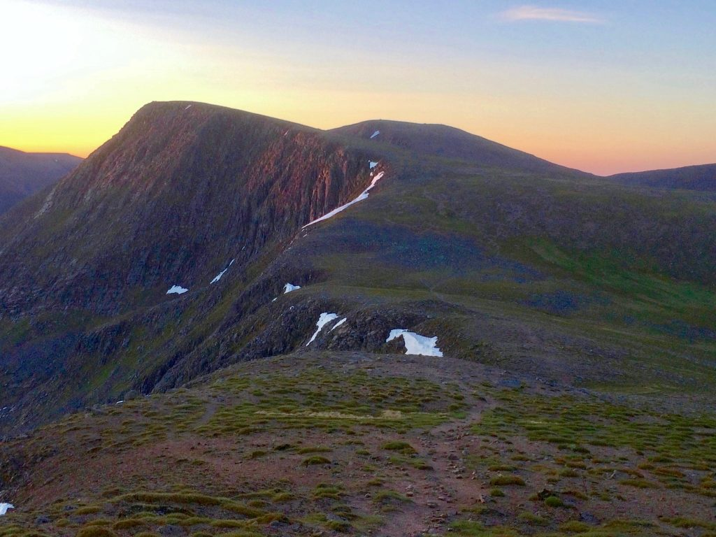 Angel's Peak in the Cairngorm mountains at sunrise