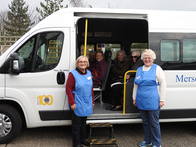 Mersea Community Services, Friday Fish and Chip Club using the bus for the first time.