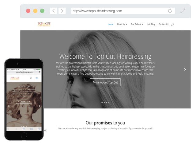 top cut hairdressing web design