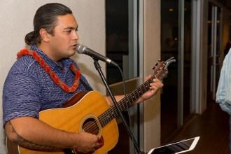 """Musician Ka'ena Elaban performs at the """"Hawai'i: Language Matters"""" reception"""
