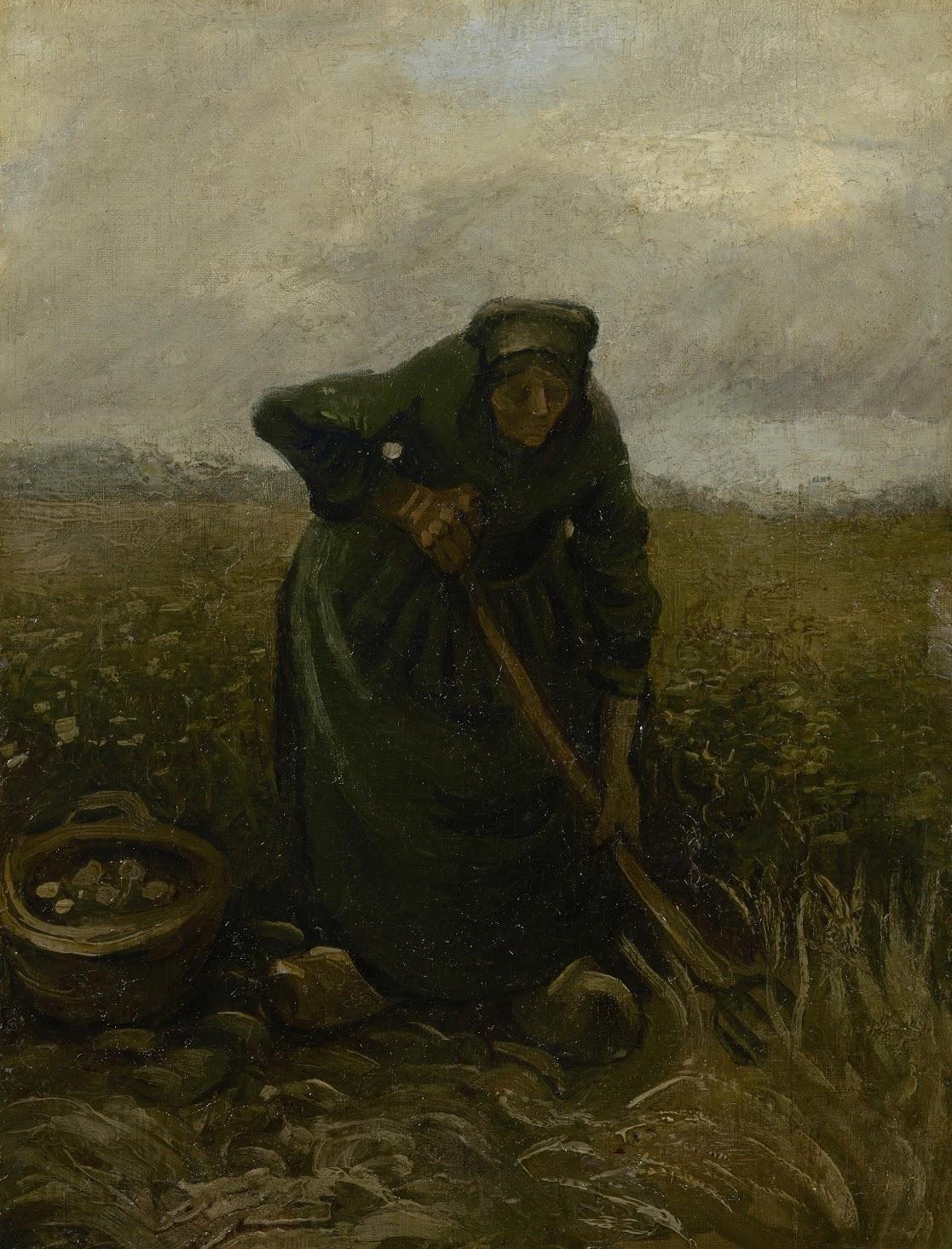 Mujer sacando patatas