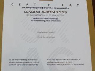 Sistemul de Management al Calității din cadrul Consiliul Județean Sibiu, certificat conform ISO 9001:2015