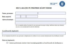 DOCUMENT: Descarcă declarația pe propria răspundere pentru starea de urgență, noua versiune, și adeverința de la angajator