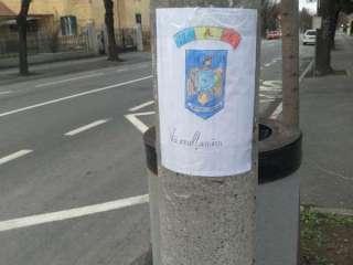 Afișe cu mulțumiri pentru cadrele medicale, lipite de un student pe stâlpii din Sibiu