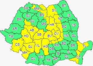 Vremea azi, 6 iulie. În Sibiu e alertă cod galben de ploi torențiale și vijelii