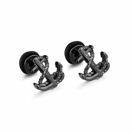 Boucles d'oreilles à pivot Ancre Vintage noir presentation