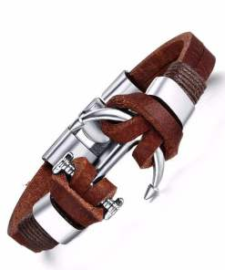 bracelet ancre en cuir marron presentation fond blanc