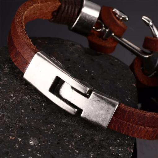 bracelet ancre en cuir marron zoom