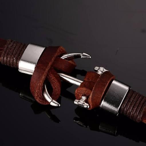 bracelet ancre cuir marron fermoir