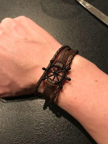 GRATUIT - Bracelet de marin homme/femme motif gouvernail en cuir photo review
