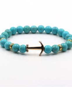 Bracelet d'Ancre doré en pierre naturelle turquoise