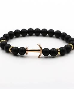 Bracelet d'Ancre doré en pierre naturelle noir neutre