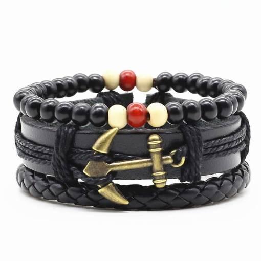 Bracelet de charme 3 tons motif Ancre