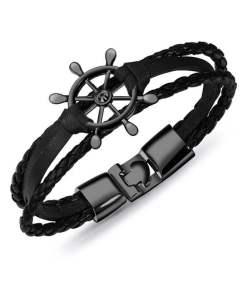 Bracelet de marin motif gouvernail en cuir multicouche noir noir