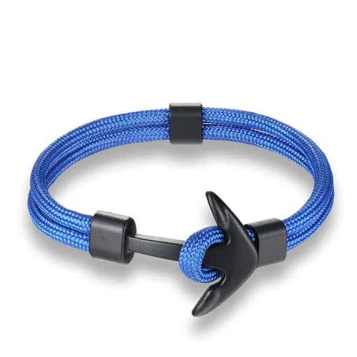 Bracelet en corde tissée motif Ancre marine bleu ciel