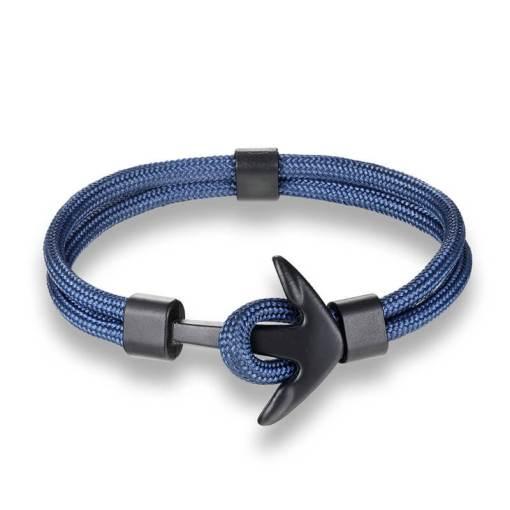 Bracelet en corde tissée motif Ancre marine bleu