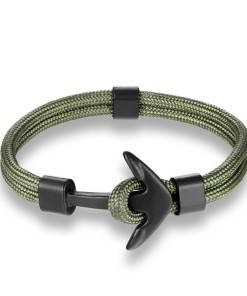 Bracelet en corde tissée motif Ancre marine vert armé