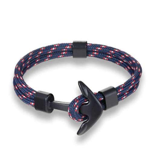 Bracelet en corde tissée motif Ancre marine bleu rouge