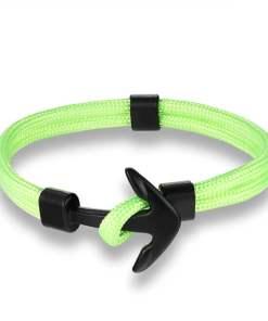 Bracelet en corde tissée motif Ancre marine vert clair