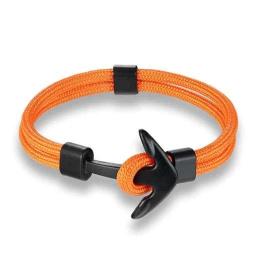 bracelet en corde tissée motif ancre marine couleur vert et orange