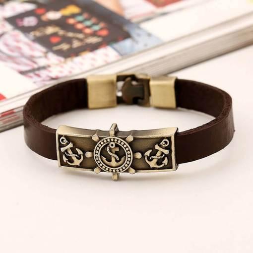 Bracelet vintage Ancre en cuir marron face