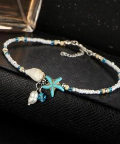 Chaine de cheville Océan étoile de mer assemble fond noir