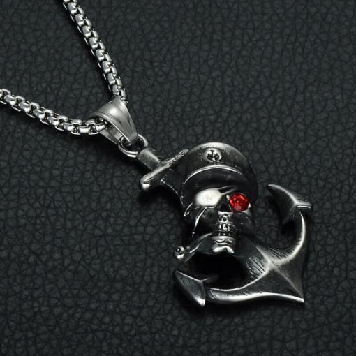 Collier avec pendentif Ancre de Pirate argent