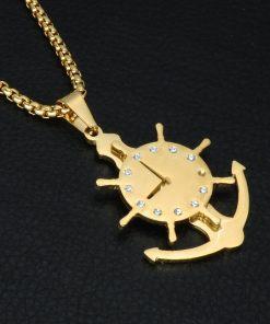 Collier avec pendentif Horloge Gouvernail or