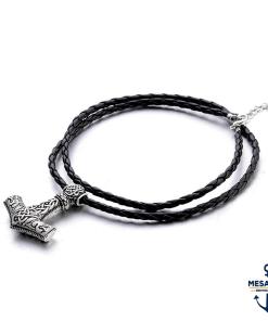 Collier-Viking-Marteau-de-Thor-Mjolnir-Couleur-Argent