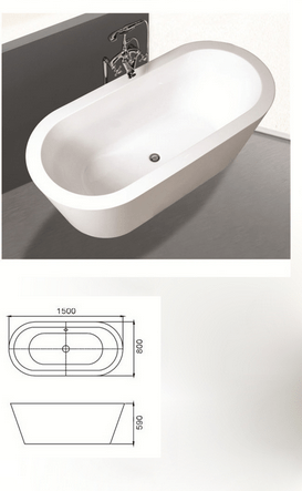 China Acrylic Oval Freestanding Bathtub Overflow WChrome Finish Manufacturers Suppliers