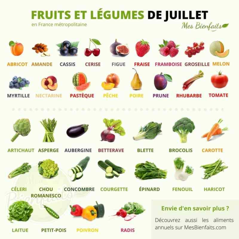 Infografía de frutas y verduras de julio.  Comida local en Francia continental.