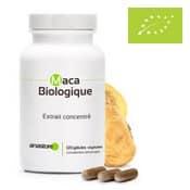 Extracto de maca orgánico concentrado en cápsulas.
