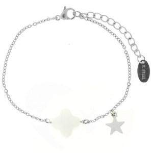 armband-star-flower-wit-zilver