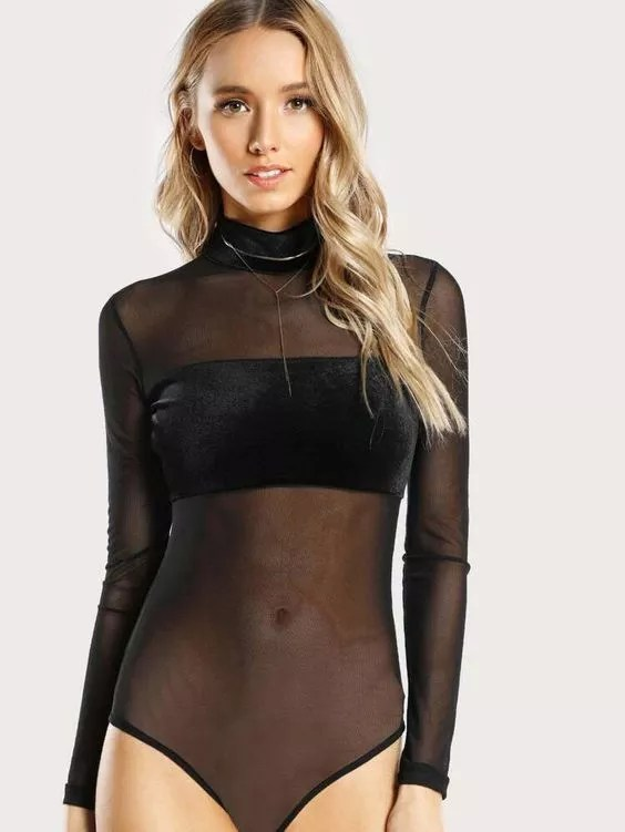 body tulle noir shein