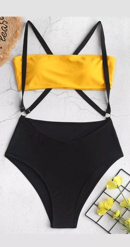 maillot de bain jaune noir original zaful