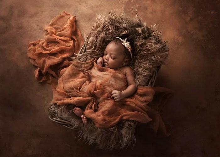 portrait artistique nouveau-né antillais
