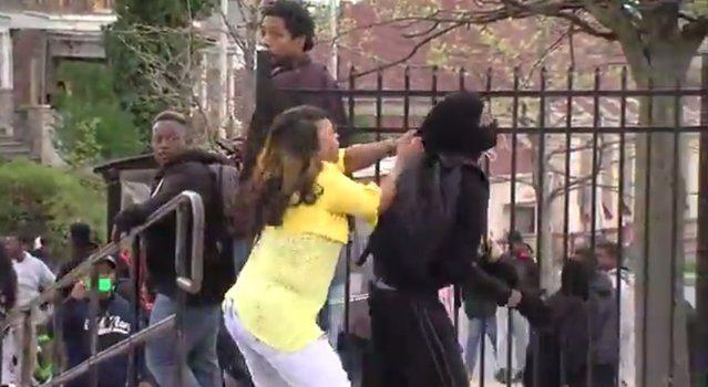 Mom disciplines during riot