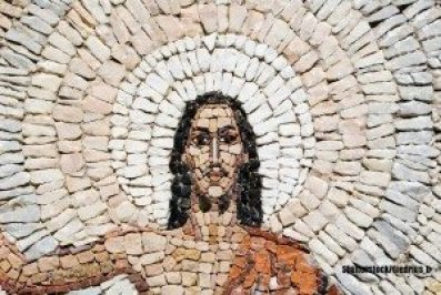 Mosaic Jesus captioned