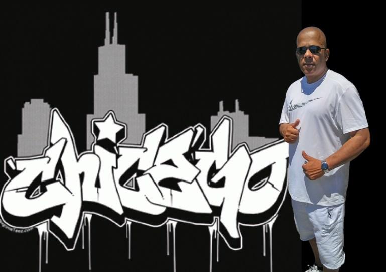 Man and Chicago graffiti