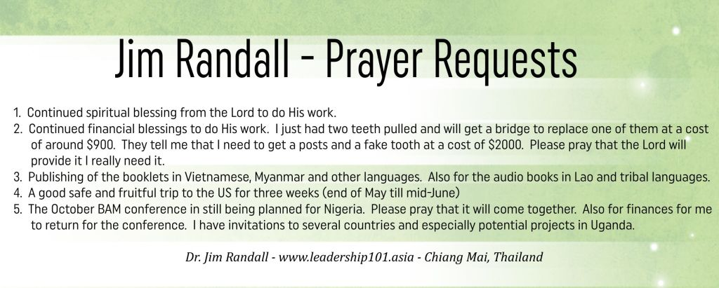 May 2016 Randall Prayer Requests