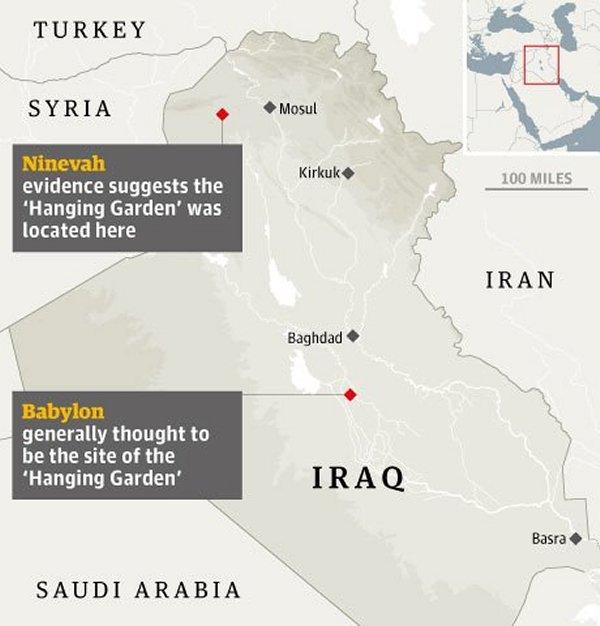 Hanging Gardens of Babylon map