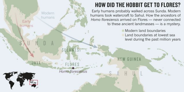 Map of places where Hobbits were found