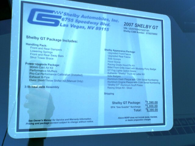 shelby GT invoice