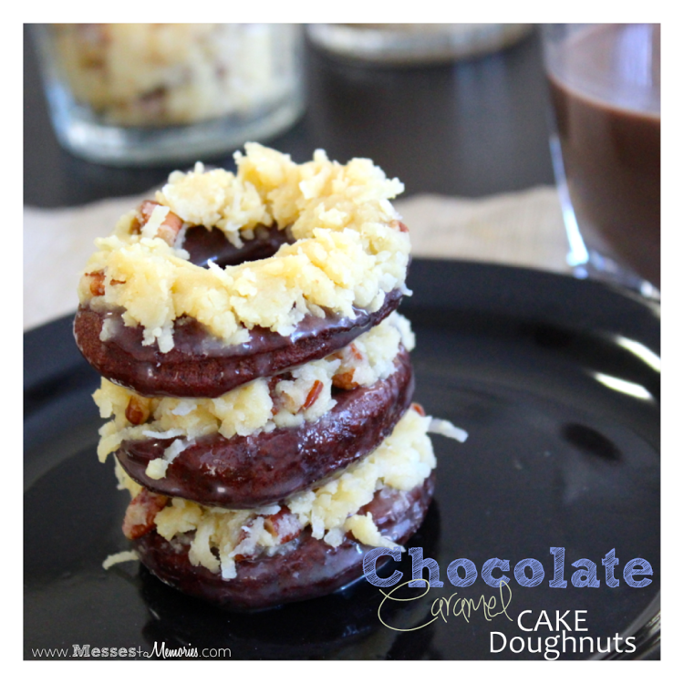 Homemade Chocolate Caramel Cake Doughnuts from Messes to Memories