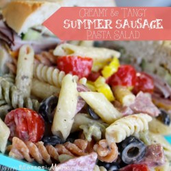 CREAMY & TANGY SUMMER SAUSAGE PASTA SALAD