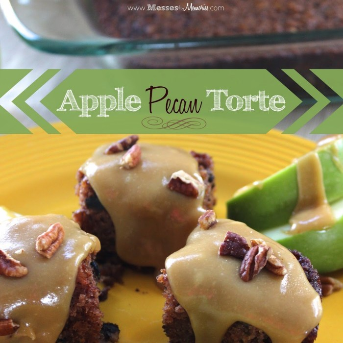 Apple Torte is a moist and delicious cake topped with creamy caramel sauce from Messes to Memories