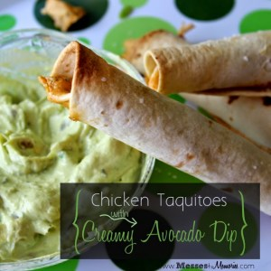 CHICKEN TAQUITOS WITH AVOCADO DIP