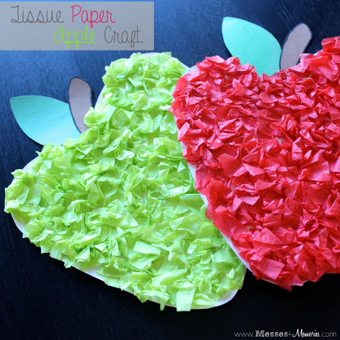 Tissue Paper Apple Craft from Messes to Memories
